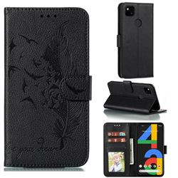 Intricate Embossing Lychee Feather Bird Leather Wallet Case for Google Pixel 4a - Black
