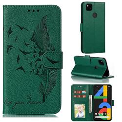 Intricate Embossing Lychee Feather Bird Leather Wallet Case for Google Pixel 4a - Green