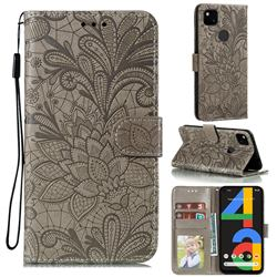 Intricate Embossing Lace Jasmine Flower Leather Wallet Case for Google Pixel 4a - Gray