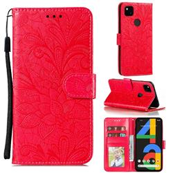 Intricate Embossing Lace Jasmine Flower Leather Wallet Case for Google Pixel 4a - Red