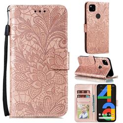 Intricate Embossing Lace Jasmine Flower Leather Wallet Case for Google Pixel 4a - Rose Gold