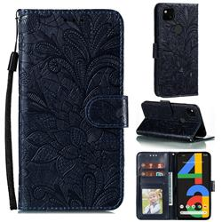 Intricate Embossing Lace Jasmine Flower Leather Wallet Case for Google Pixel 4a - Dark Blue