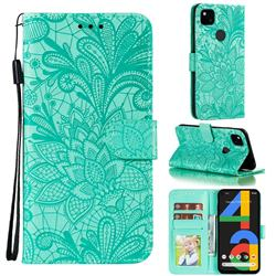 Intricate Embossing Lace Jasmine Flower Leather Wallet Case for Google Pixel 4a - Green