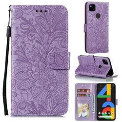 Intricate Embossing Lace Jasmine Flower Leather Wallet Case for Google Pixel 4a - Purple