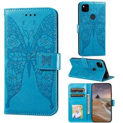 Intricate Embossing Rose Flower Butterfly Leather Wallet Case for Google Pixel 4a - Blue