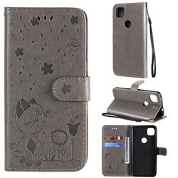 Embossing Bee and Cat Leather Wallet Case for Google Pixel 4a - Gray