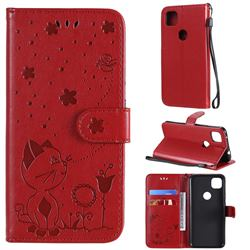 Embossing Bee and Cat Leather Wallet Case for Google Pixel 4a - Red