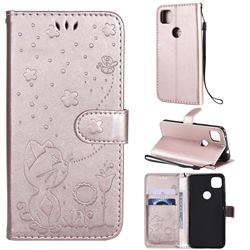 Embossing Bee and Cat Leather Wallet Case for Google Pixel 4a - Rose Gold