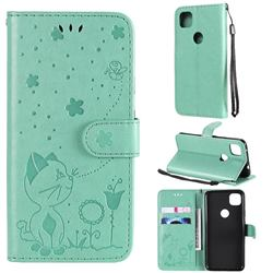 Embossing Bee and Cat Leather Wallet Case for Google Pixel 4a - Green