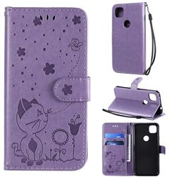 Embossing Bee and Cat Leather Wallet Case for Google Pixel 4a - Purple