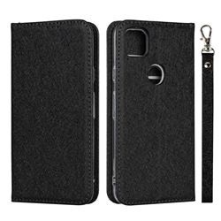 Ultra Slim Magnetic Automatic Suction Silk Lanyard Leather Flip Cover for Google Pixel 4a - Black
