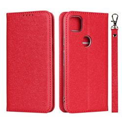 Ultra Slim Magnetic Automatic Suction Silk Lanyard Leather Flip Cover for Google Pixel 4a - Red