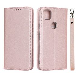 Ultra Slim Magnetic Automatic Suction Silk Lanyard Leather Flip Cover for Google Pixel 4a - Rose Gold