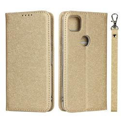 Ultra Slim Magnetic Automatic Suction Silk Lanyard Leather Flip Cover for Google Pixel 4a - Golden