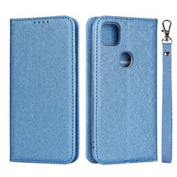 Ultra Slim Magnetic Automatic Suction Silk Lanyard Leather Flip Cover for Google Pixel 4a - Sky Blue