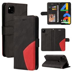 Luxury Two-color Stitching Leather Wallet Case Cover for Google Pixel 4a - Black