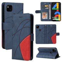 Luxury Two-color Stitching Leather Wallet Case Cover for Google Pixel 4a - Blue