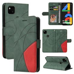 Luxury Two-color Stitching Leather Wallet Case Cover for Google Pixel 4a - Green