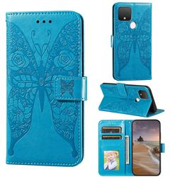 Intricate Embossing Rose Flower Butterfly Leather Wallet Case for Google Pixel 4a 5G - Blue