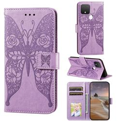 Intricate Embossing Rose Flower Butterfly Leather Wallet Case for Google Pixel 4a 5G - Purple
