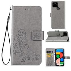 Embossing Imprint Four-Leaf Clover Leather Wallet Case for Google Pixel 4a 5G - Grey