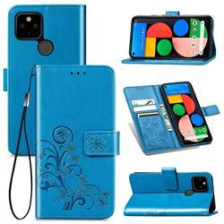Embossing Imprint Four-Leaf Clover Leather Wallet Case for Google Pixel 4a 5G - Blue