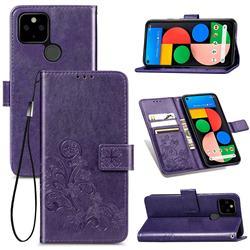 Embossing Imprint Four-Leaf Clover Leather Wallet Case for Google Pixel 4a 5G - Purple