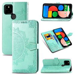 Embossing Imprint Mandala Flower Leather Wallet Case for Google Pixel 4a 5G - Green