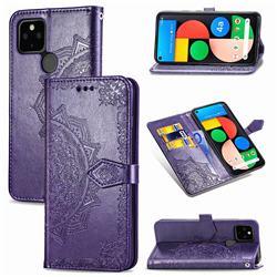 Embossing Imprint Mandala Flower Leather Wallet Case for Google Pixel 4a 5G - Purple