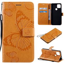 Embossing 3D Butterfly Leather Wallet Case for Google Pixel 4a 5G - Yellow