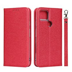 Ultra Slim Magnetic Automatic Suction Silk Lanyard Leather Flip Cover for Google Pixel 4a 5G - Red