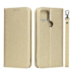 Ultra Slim Magnetic Automatic Suction Silk Lanyard Leather Flip Cover for Google Pixel 4a 5G - Golden
