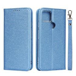 Ultra Slim Magnetic Automatic Suction Silk Lanyard Leather Flip Cover for Google Pixel 4a 5G - Sky Blue