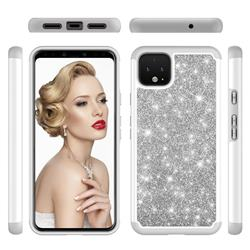 Glitter Rhinestone Bling Shock Absorbing Hybrid Defender Rugged Phone Case Cover for Google Pixel 4 XL - Gray