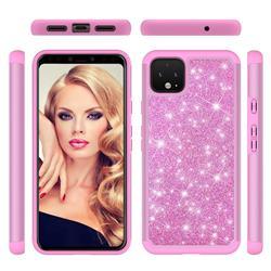 Glitter Rhinestone Bling Shock Absorbing Hybrid Defender Rugged Phone Case Cover for Google Pixel 4 XL - Pink