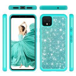 Glitter Rhinestone Bling Shock Absorbing Hybrid Defender Rugged Phone Case Cover for Google Pixel 4 XL - Green