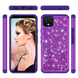 Glitter Rhinestone Bling Shock Absorbing Hybrid Defender Rugged Phone Case Cover for Google Pixel 4 XL - Purple