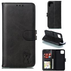 Embossing Happy Cat Leather Wallet Case for Google Pixel 4 XL - Black