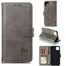 Embossing Happy Cat Leather Wallet Case for Google Pixel 4 XL - Gray