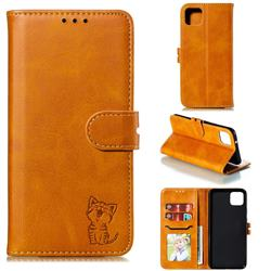 Embossing Happy Cat Leather Wallet Case for Google Pixel 4 XL - Yellow