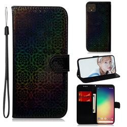 Laser Circle Shining Leather Wallet Phone Case for Google Pixel 4 XL - Black
