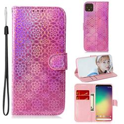 Laser Circle Shining Leather Wallet Phone Case for Google Pixel 4 XL - Pink