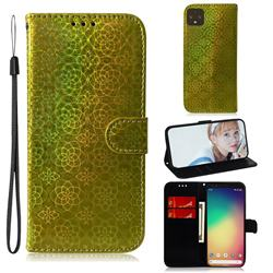 Laser Circle Shining Leather Wallet Phone Case for Google Pixel 4 XL - Golden