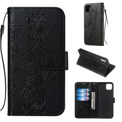 Embossing Tiger and Cat Leather Wallet Case for Google Pixel 4 XL - Black