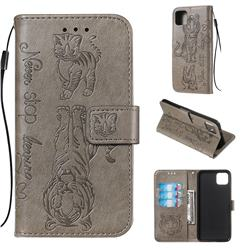Embossing Tiger and Cat Leather Wallet Case for Google Pixel 4 XL - Gray