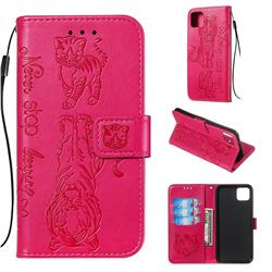 Embossing Tiger and Cat Leather Wallet Case for Google Pixel 4 XL - Rose