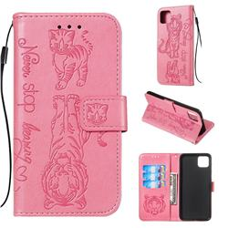 Embossing Tiger and Cat Leather Wallet Case for Google Pixel 4 XL - Pink