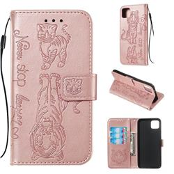 Embossing Tiger and Cat Leather Wallet Case for Google Pixel 4 XL - Rose Gold