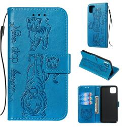 Embossing Tiger and Cat Leather Wallet Case for Google Pixel 4 XL - Blue