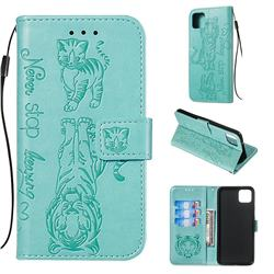 Embossing Tiger and Cat Leather Wallet Case for Google Pixel 4 XL - Green